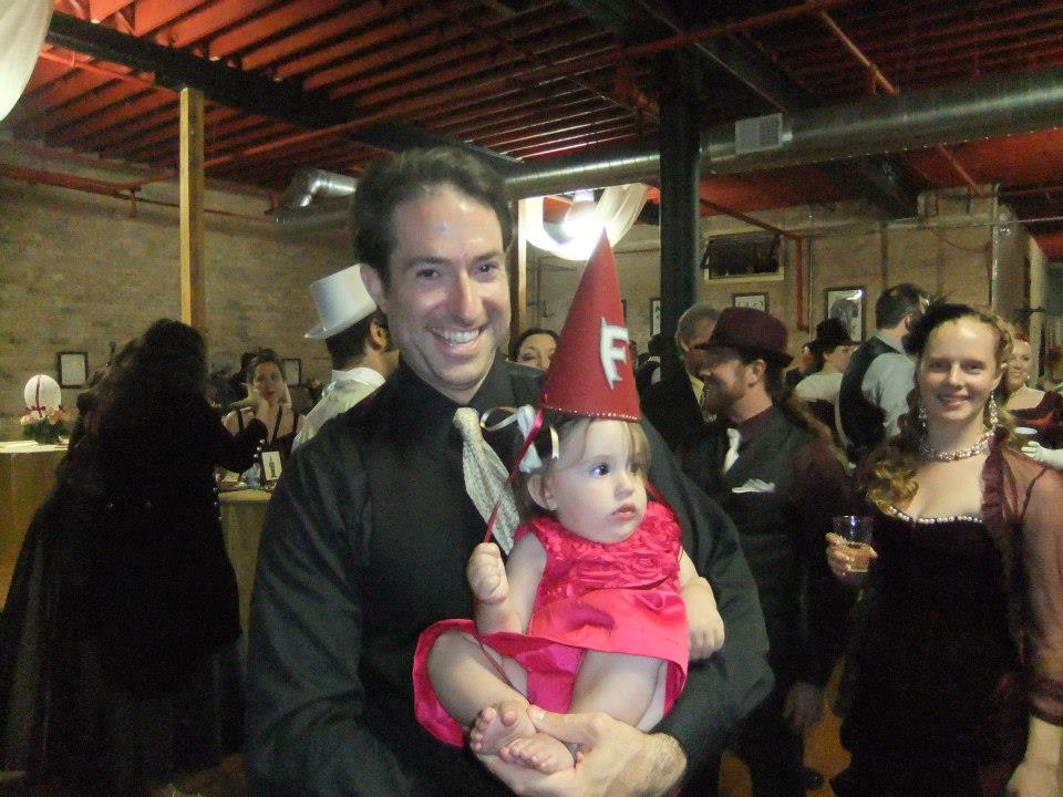 Forteza Mascot Baby Rose does her best gnome impression. Rosie pronounced the ball a great success!